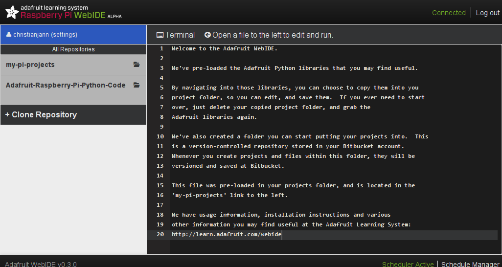 Trying out the Adafruit WebIDE on my Raspberry Pi — Christian's Blog