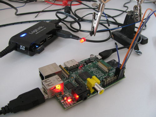 Raspberry Pi with red LED