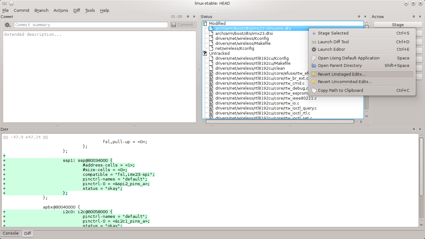 Screenshot git-cola kernel 3.7.1 with patches applied