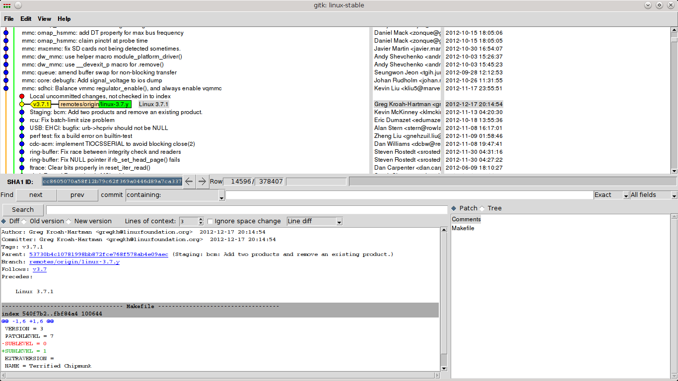 Screenshot gitk kernel 3.7.1 commit history
