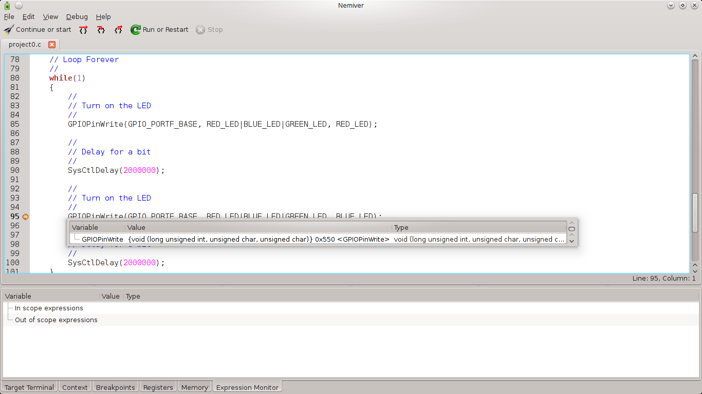 Debugging project0 with Nemiver