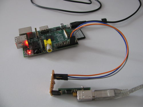 USB serial cable connected