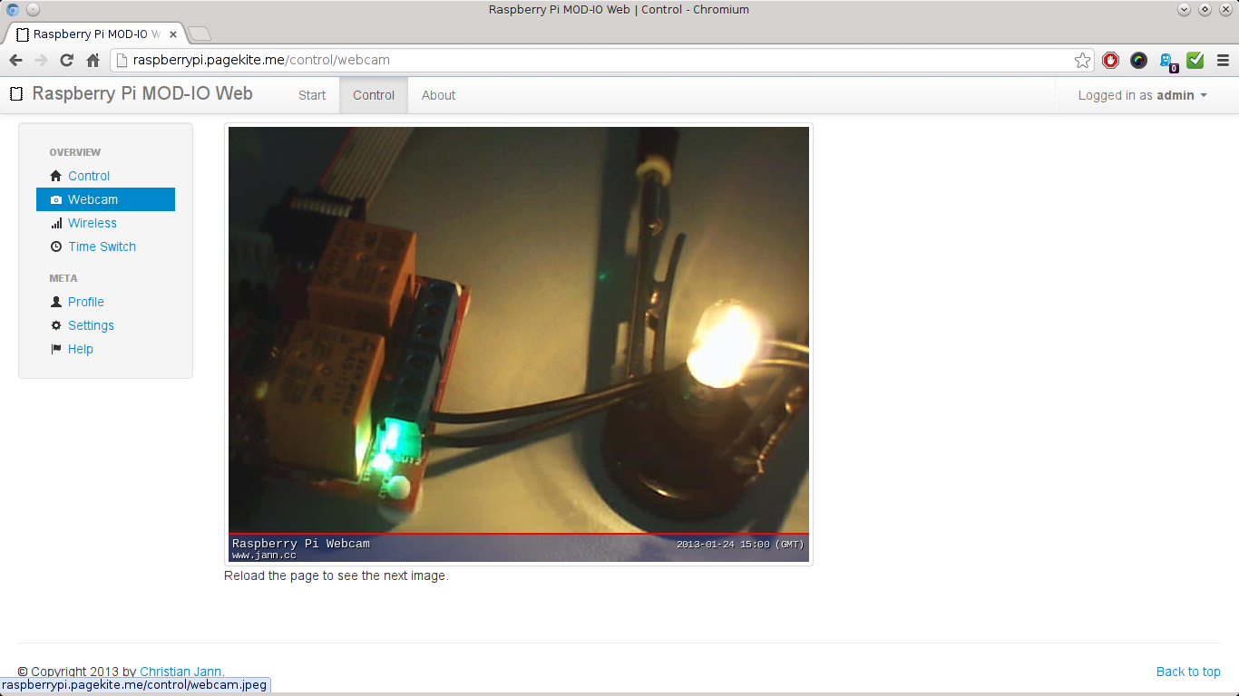 Raspberry Pi MOD-IO Web - Webcam